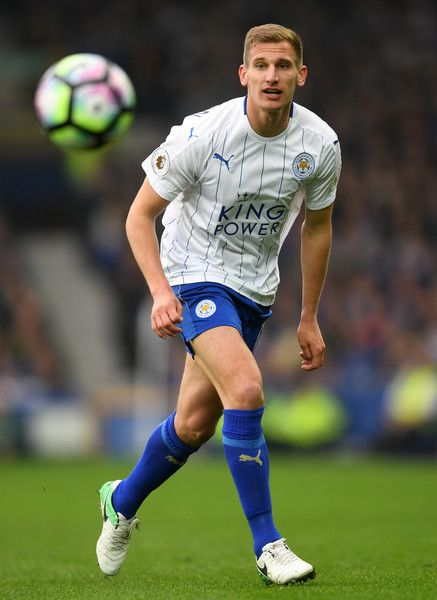 Marc Albrighton of Leicester City in action during the Premier League match between Everton and Leicester City at Goodison Park on April 9, 2017 in Liverpool, England.