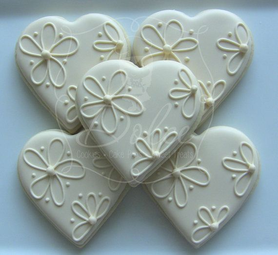 One Dozen Elegant Heart Decorated Sugar Cookies For Wedding, Anniversary, Engagement Party, Shower, Birthday Or Any Special Occasion