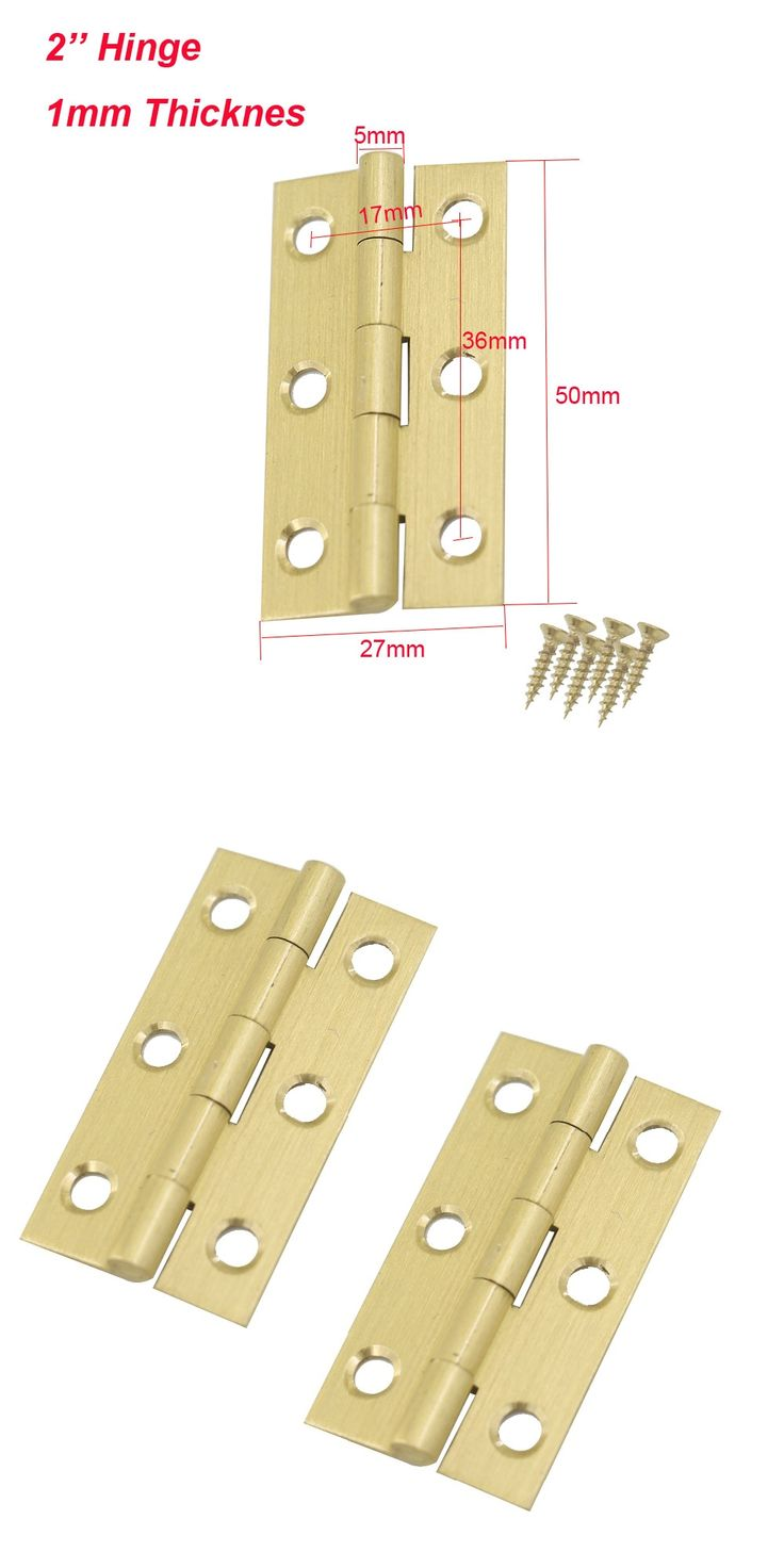 10pcs 2inch 50 x 27mm Brass Hinges Closet Drawer Cabinet Box Furniture Rotating Door Butt Hinges