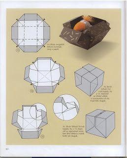 Origamis da Mary: Caixa Surpresa + Selinhos! - Diagrams, box pops open when ribbon undone.