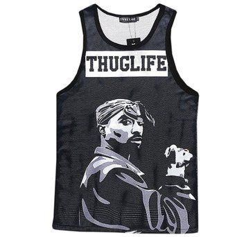 CHIC Hipster Basketball Tank Tops Men's Tupac 3D Women Vest jersey Shirt