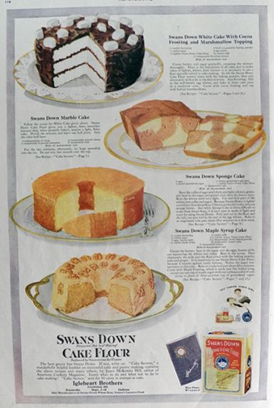 1920 Swans Down Cake Flour Ad Marble Cake Recipe In 2019