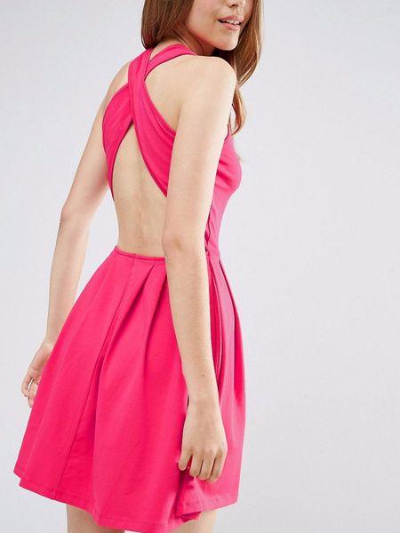 Milanoo / Sommer-Skater Kleid Rose rot zurück Kreuz Damen ärmelloses Plissee Passform und Flare Kleid