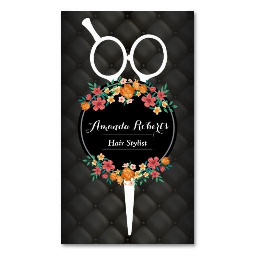 Hair Stylist Luxury Scissor & Flowers Appointment Double-Sided Standard Business Cards (Pack Of 100)