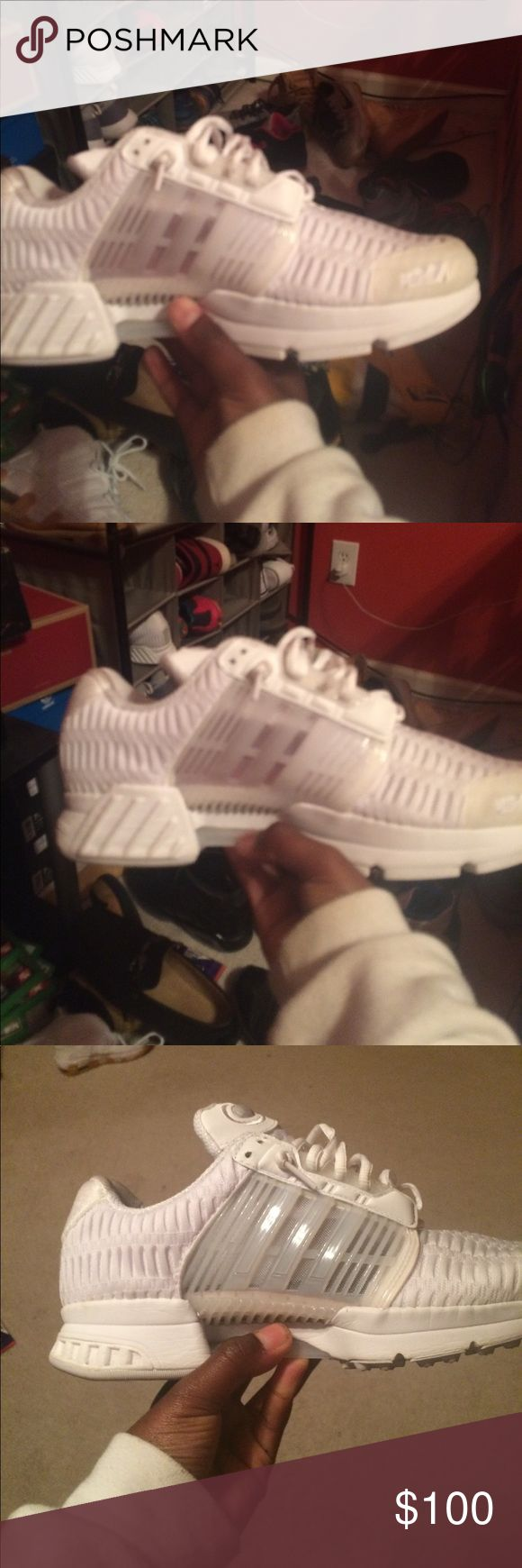 All white adidas clima cool 1's They are in a solid 9.5 condition adidas Shoes Athletic Shoes