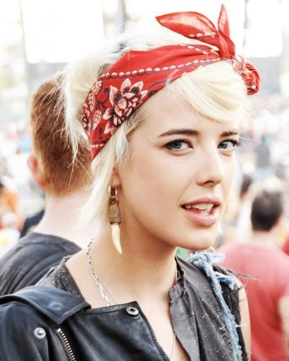Blonde Hair with a Red Bandana