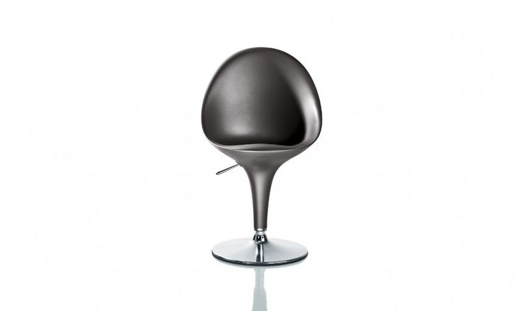 Swivel chair.  Adjustable in height with gas piston. Fixed height version also available. Material: base in chromed steel. Seat in standard injection-moulded ABS.