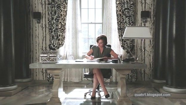 I love the wall paper and curtains in Regina's office from Once Upon a Time.