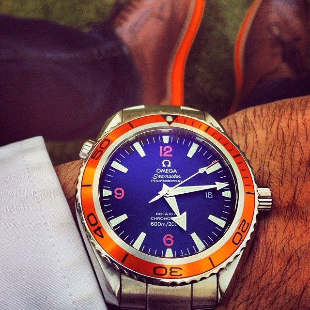 Omega Seamaster Planet Ocean 600M with matching orange sole brogues! Retail price: $5990 - Photo by @Azaanali7  #Padgram