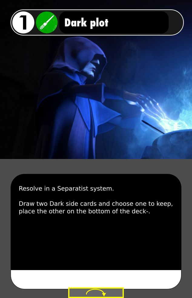 This Separatist starting mission card lets you draw dark side cards!