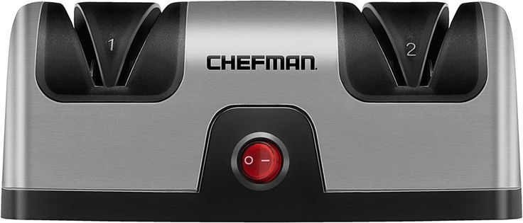 Chefman - Electric Knife Sharpener - Stainless steel and black