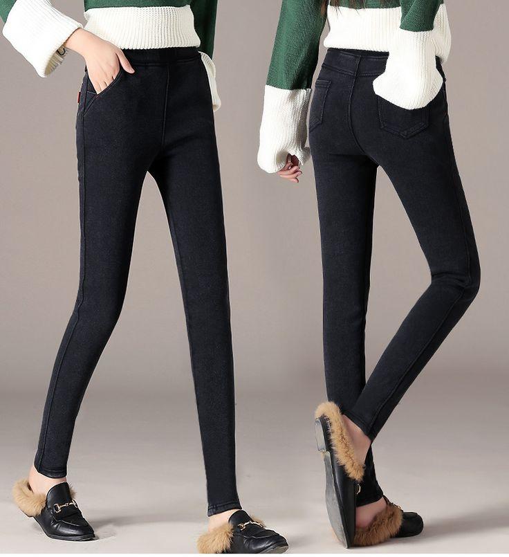 Новая осень и зима плюс бархат толще женщин, носящих черные карандаши карандаши плотно девять очков разминка брюки большой размер-tmall.com день кошка