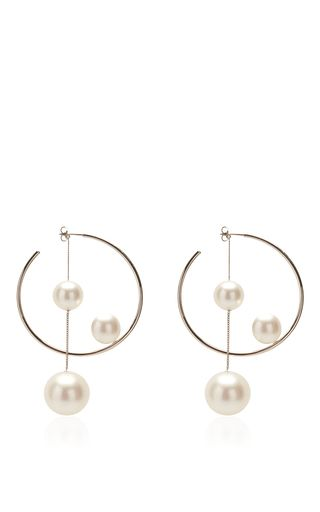Ivory Pearl Hoop Earring by Salvatore Ferragamo for Preorder on Moda Operandi                                                                                                                                                                                 M