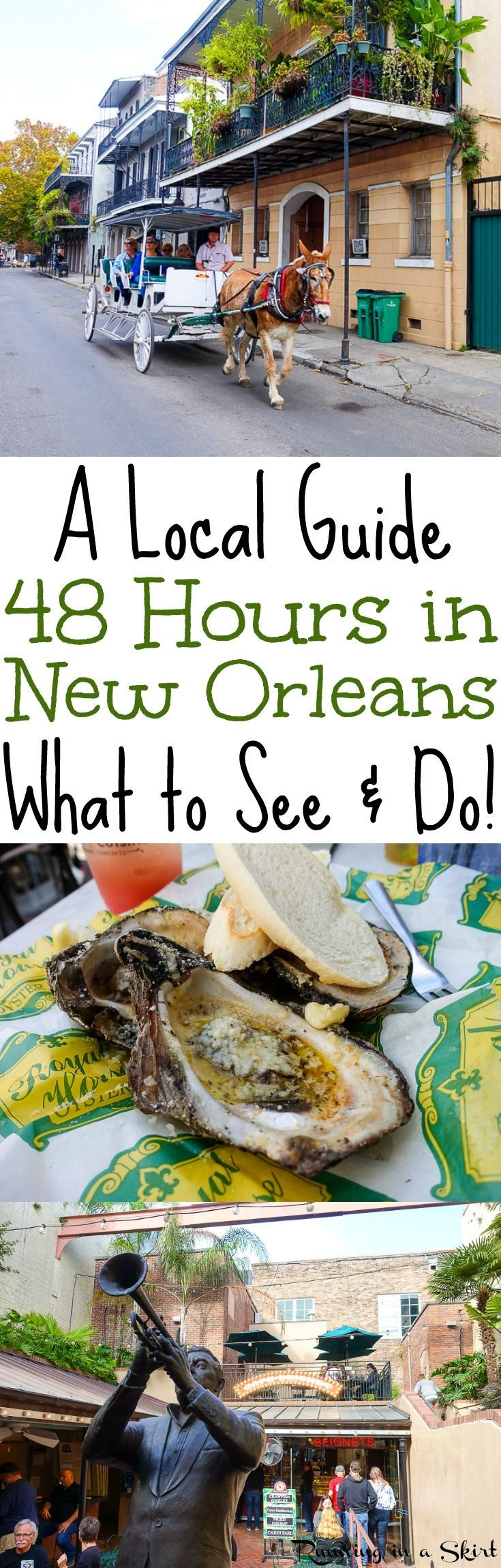 Things to Do in New Orleans - a 48 hour travel guide by locals!  What to do in the French Quarter, Bourbon Street, Garden District, restaurants, shopping... where to stay in and the best hotels!  Tips to plan your NOLA vacation. / Running in a Skirt