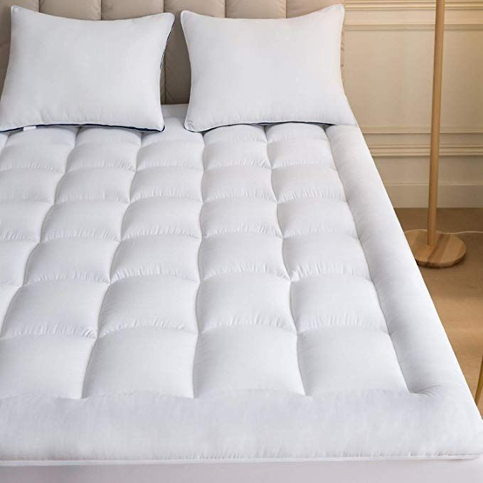 Mattress Topper Full 54x75 Inches Quilted Plush Down Alternative Pillow Top Fitted Skirt Protector Mattress Pad Reviver White Bed Covers Mattress Mattress Pad