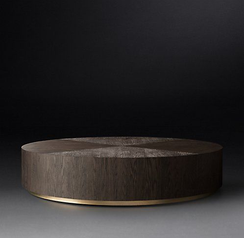 RH Modern's Machinto Round Collection - Brown Oak & Burnished Brass