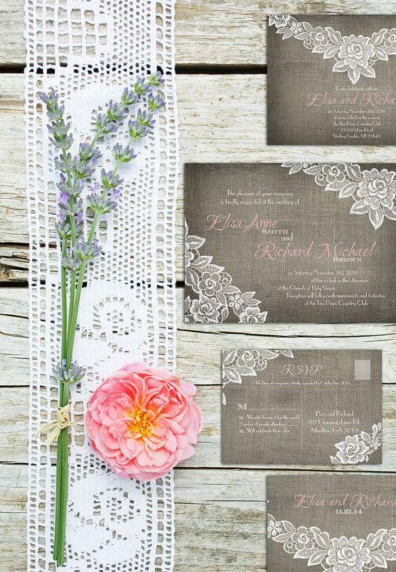 Romantic lace and burlap invitations - DIY printable, or printed sets