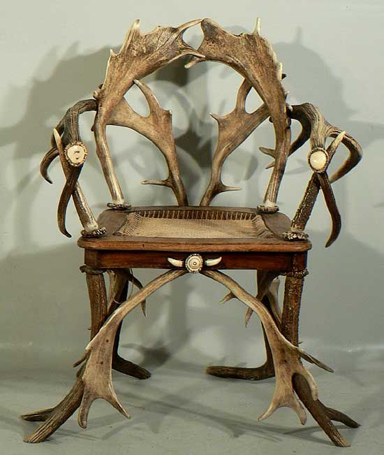A Rustic Black Forest Horn Chair 1900