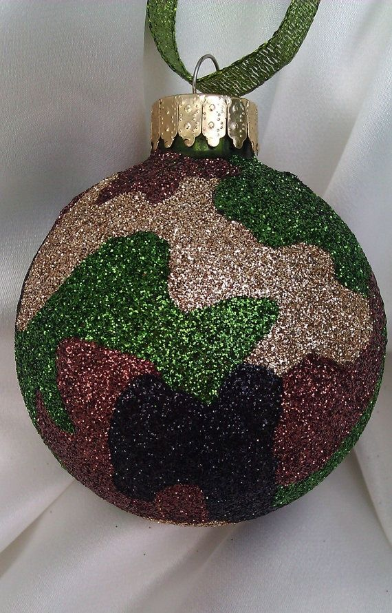 US Military Army Camouflage Glass Ball Ornament by GlitterOrnaments on Etsy, $19.50