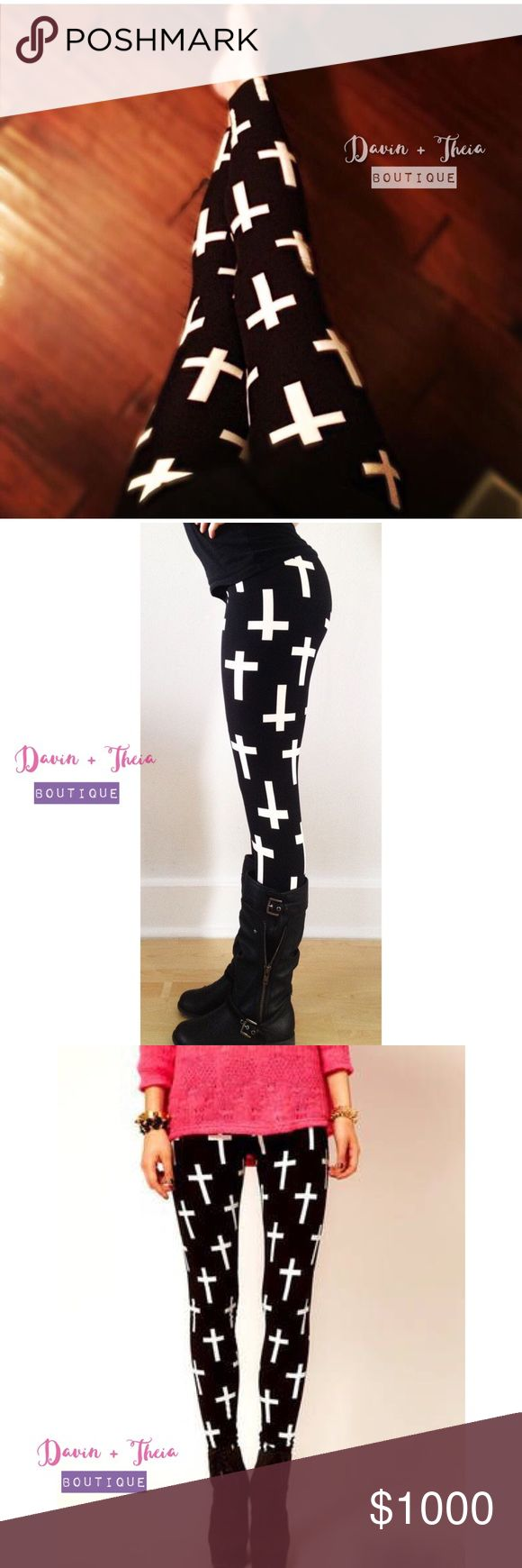 """White Cross on Black Leggings BRAND NEW  High quality print white cross on black leggings. Soft and comfortable. One size fits most.  92% Polyester 8% Spandex  Submit your offer thru the """"Offer"""" button NO Price discussion in the comment NO Lowballing NO Trades Pants Leggings"""