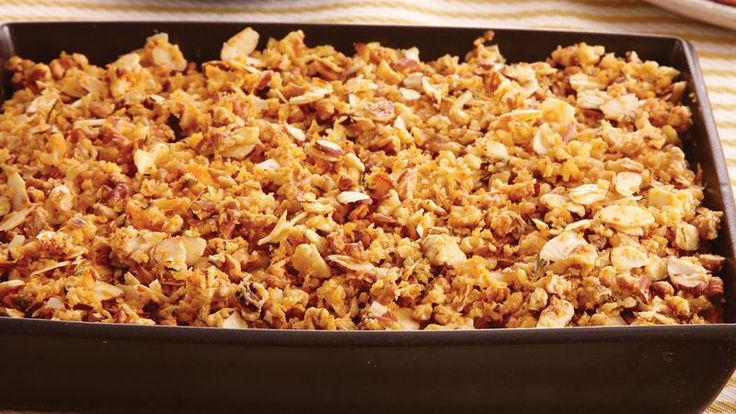 Progresso® bread crumbs provide a wonderful addition to your fall meal with this nutty sweet potato casserole - a perfect side dish.