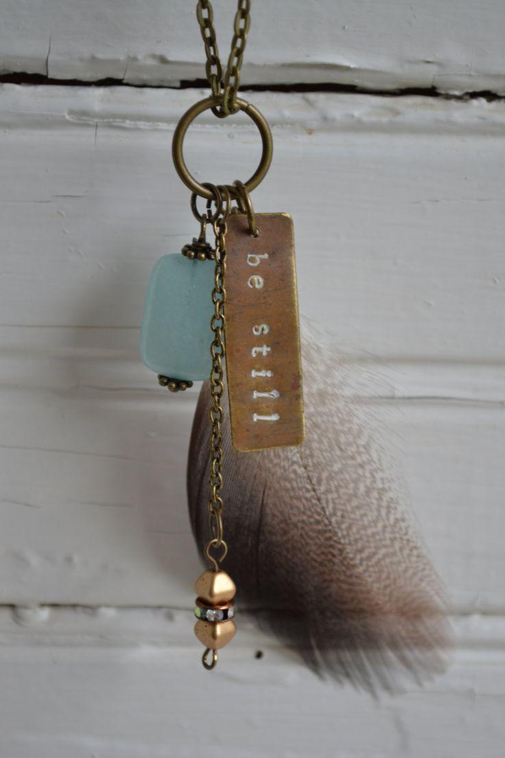 Be Still Necklace Hand Stamped Jewelry by morningBYmorningtn