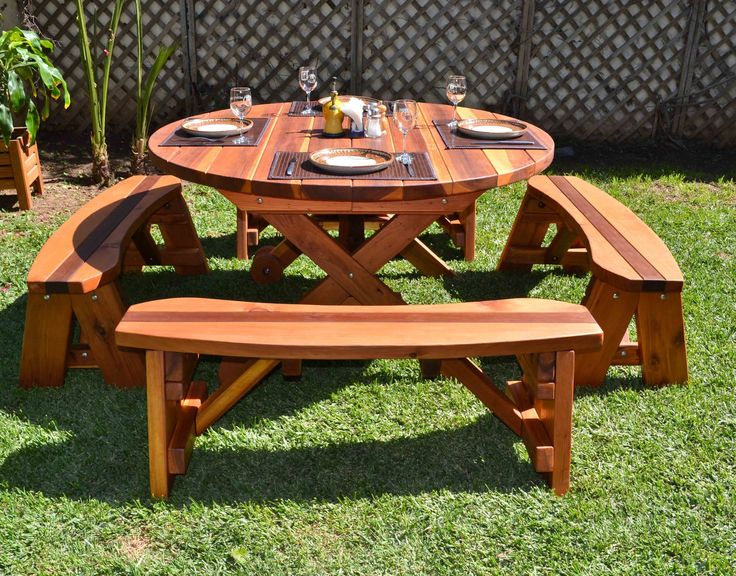 round picnic table plans images. Black Bedroom Furniture Sets. Home Design Ideas