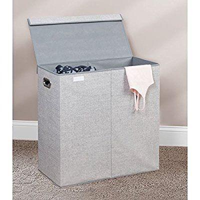 mDesign panier à linge pliable - sac pour lessive design avec nuance de jute - pour salle de bain, chambre d'enfant ou chambre à coucher - trieur de linge sale avec 2 compartiments de tri - gris