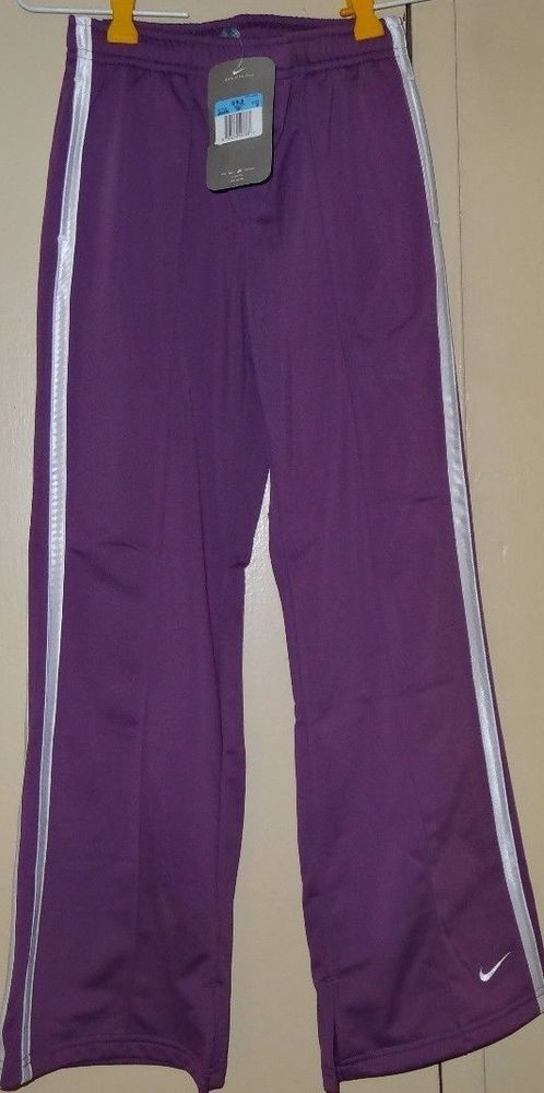 NIKE Purple White Girls Size M 10 12 Therma Athletic Track Pants NWT New Tags #Nike #AthleticSweatPants #Everyday