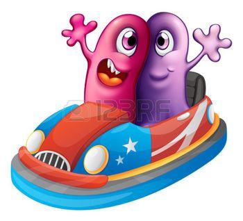 monster car: Illustrazione dei due mostri a cavallo di un auto su uno sfondo bianco