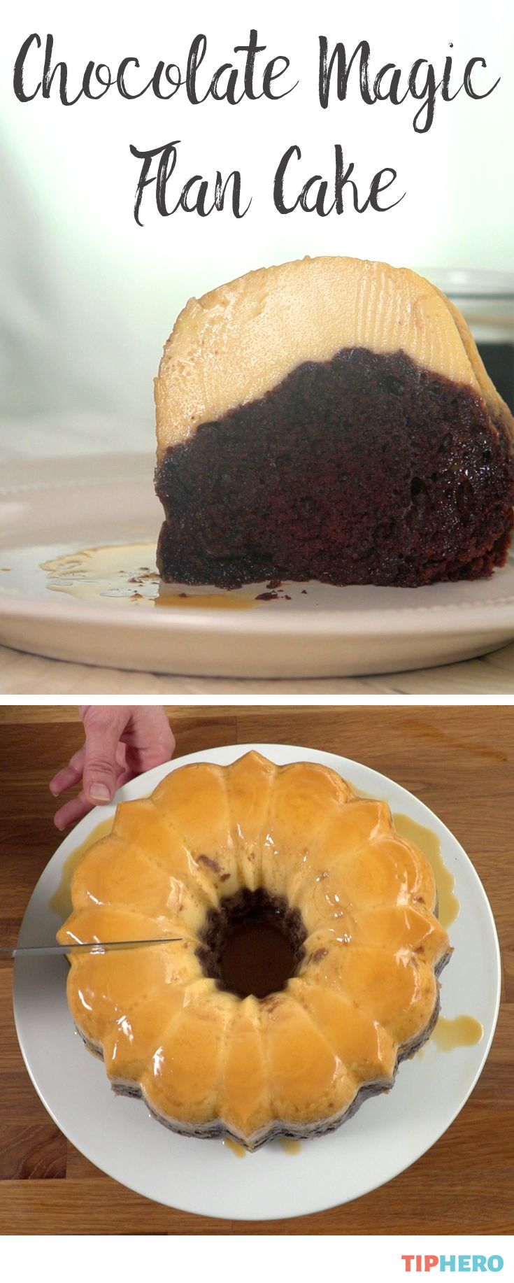 This recipe is magical for several reasons. 1: it combines the incredible flavors of Devil's Food cake and flan for a sweet treat that's out of this world. 2: it's easy. So easy. 3, and MOST important: it does a magic trick while it bakes. Seriously - click to watch it!