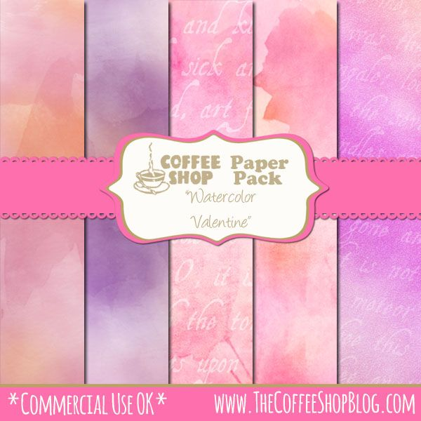 "CoffeeShop ""Watercolor Valentine"" Digital Paper Pack! (via Bloglovin.com )"
