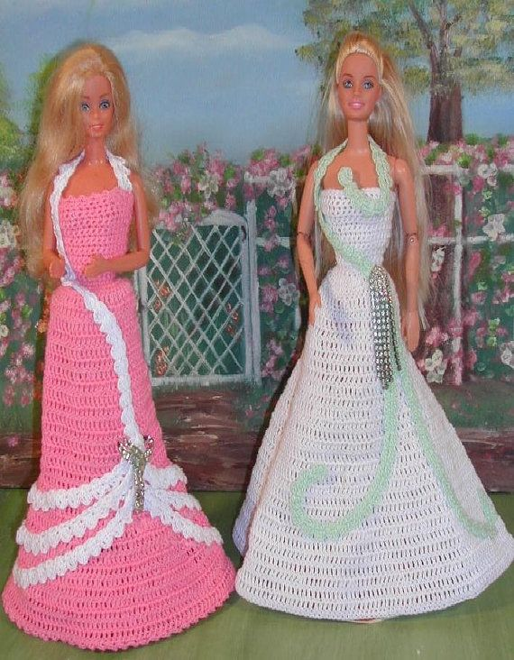 Szydełkowa Moda Lalka Barbie strukturze? # 232 jewelled TRIMMED SUKNIE # 2