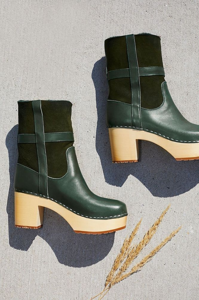 96a096680a7c SWEDISH HASBEENS SHOES HIPPIE CLOG BOOT FREE PEOPLE GREEN BOOTIES NEW 39   SwedishHasbeens  AnkleBoots  Casual