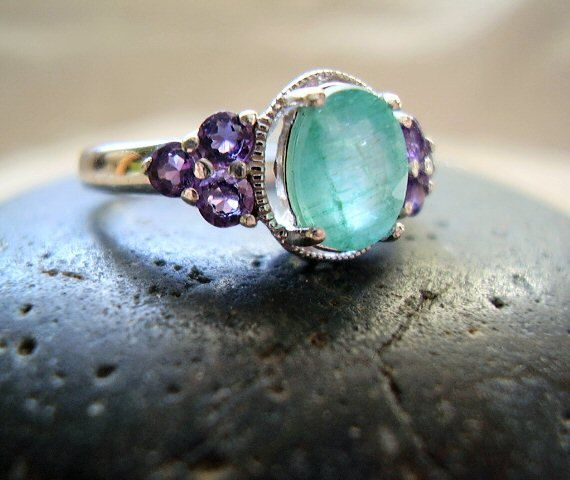 Sansa   Genuine Emerald U0026 Amethyst   Alternative Engagement   Unique  Unusual   OOAK Wedding Ring