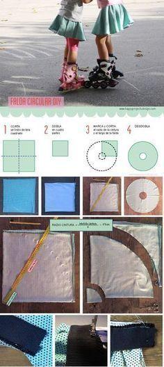 Cómo coser una falda circular #falda #coser #diy #patron circle skirt pattern