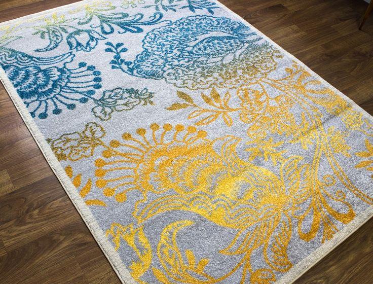 Transitional Rug Gray & Multi High Quality Carpet Polypropylene