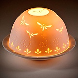 Porcelain Dome Tealight Holder & Tray - Dragonfly