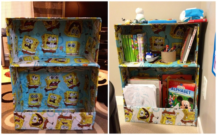 toddlers' bookshelf -- made out of Diaper box and a large shipping box, secured both boxes together with a double-sided tape and covered cheap table cloth (mine is a Spongebob)