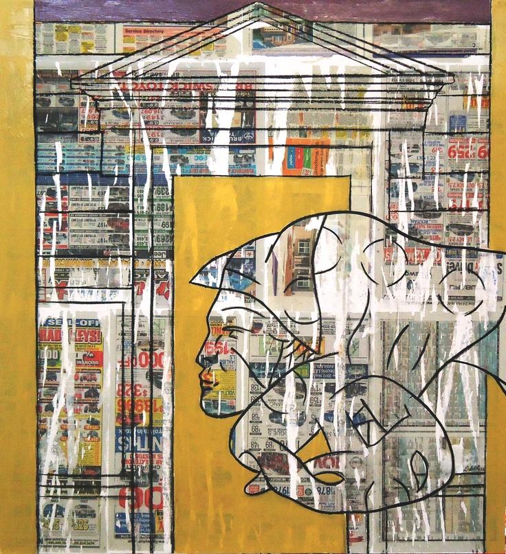 "Carcajou (mixed technique on canvas) 50""x46"" 2012"