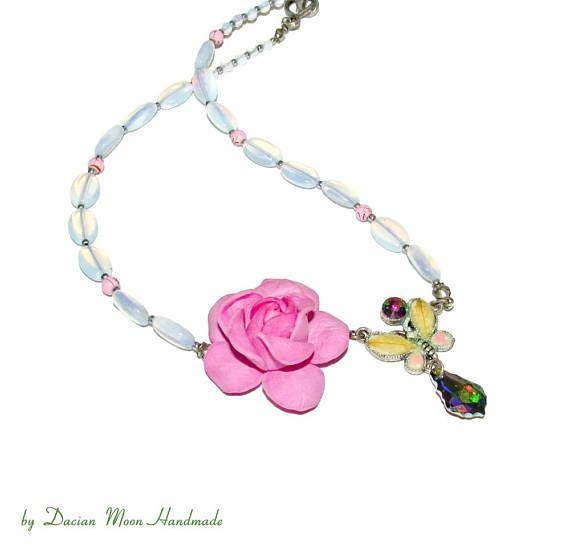 Sunny Garden necklace rose necklace with Swarovski crystals