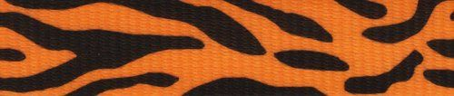 Country Brook Design 1 Inch Orange Tiger Stripe Polyester Webbing, 50 Yards. 100% Polyester. Approximately .078 inch or 2.02mm thick. 1200 lbs tensile strength. Melting point of 500 degrees Fahrenheit. UV, Rot, mildew and Moisture Resistant.