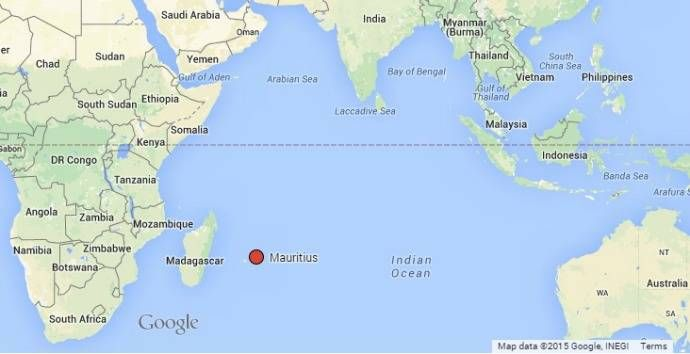 Where is Mauritius located in the Indian ocean?