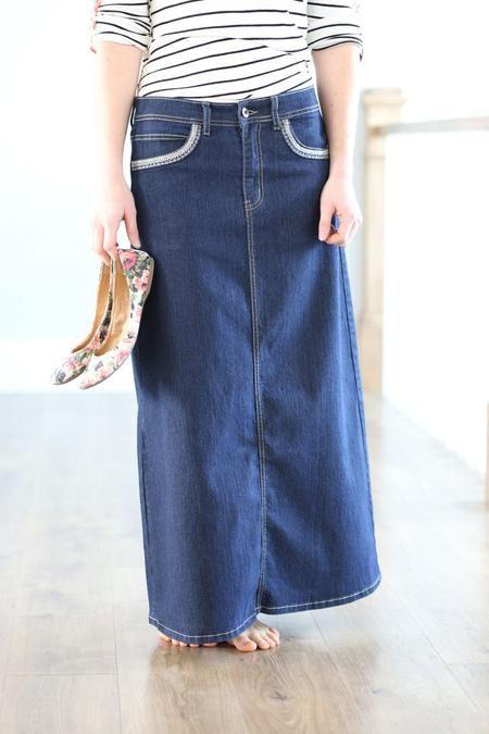 Timeless Class Modest Long Denim Skirt   Modest Jean Skirt Sizes 3-18