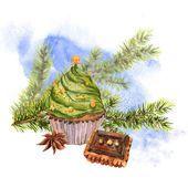 Рождественская акварельная карта с капкейками — стоковое фото #60038953