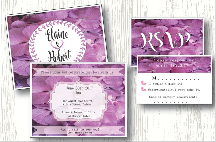 Wedding invitation and RSVP inspired by beauty of hydrangea bloom purple-pink.