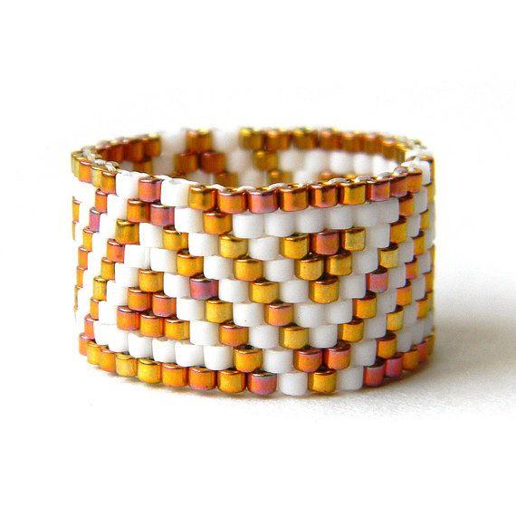 Wide geometric ring Wide elegant ring Sparkle by HappyBeadwork
