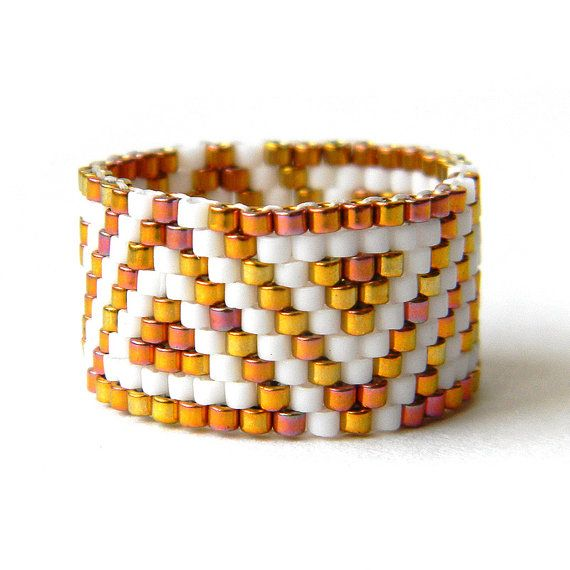 Wide geometric ring Wide elegant ring Sparkle by HappyBeadwork
