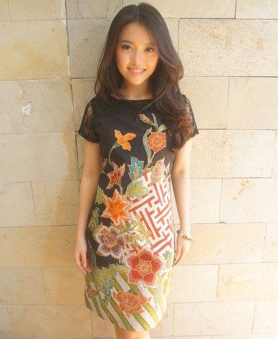 Floral Brocade Dress (Short Sleeved)   batik kultur