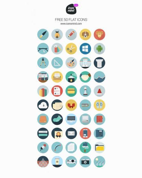 Набор из 50 Flat иконок бесплатно на seedraft.ru